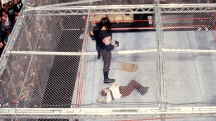 The Undertaker, after giving Mankind the Chokeslam from the top of the Hell in a Cell. WWE King of the Ring. 1998.